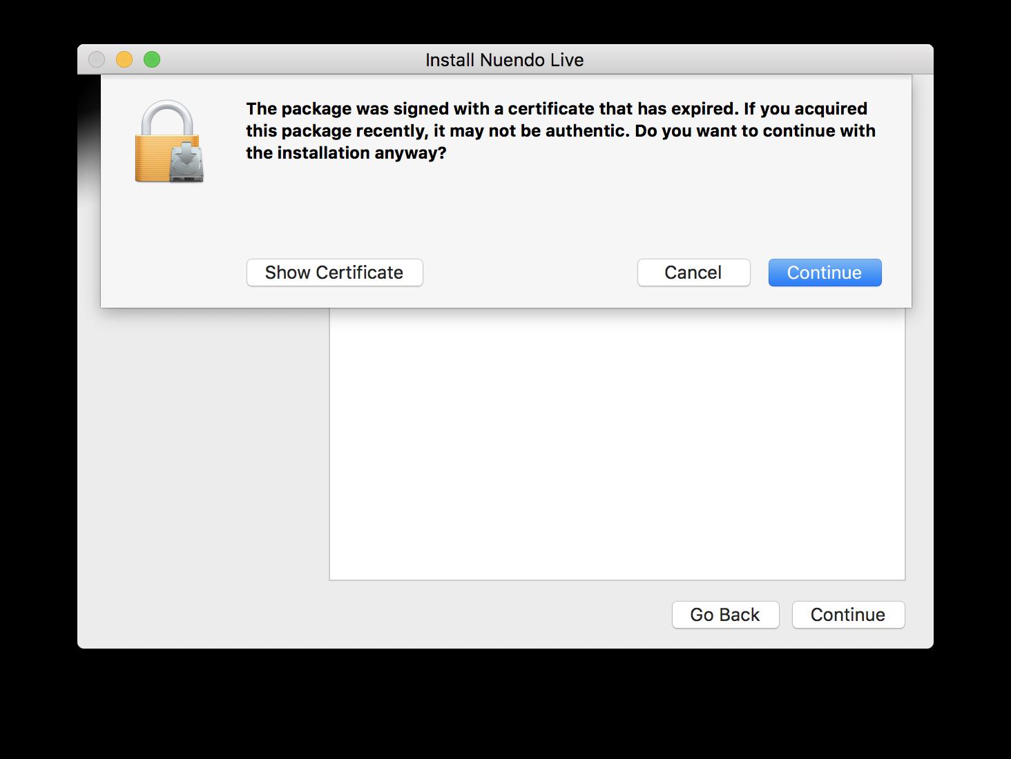 Mac: Warning message